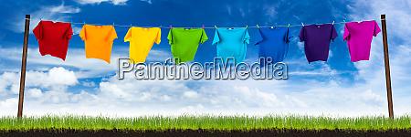 colorful tshirts on washing lin