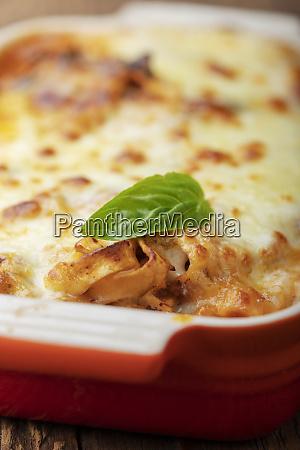 closeup of home made lasagna on