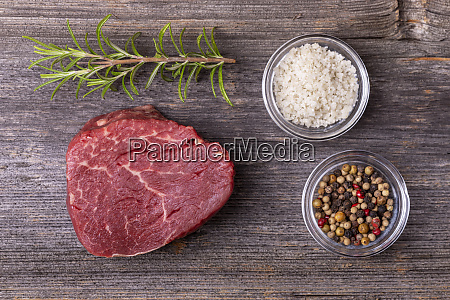 overview of a raw beef fillet