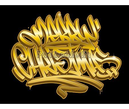 merry christmas graffiti style golden lettering