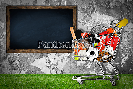 sports equipment shopping cart stone wall