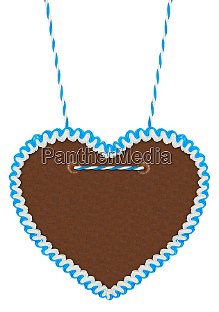 empty blue white gingerbread heart
