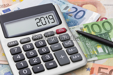 calculator with euro bills 2019