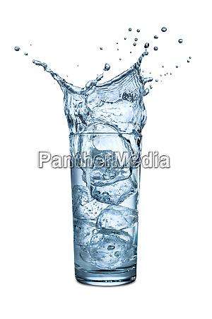 water glass ice splash