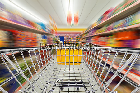 shop cart in supermarket