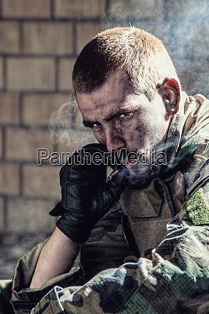 military army macho smoking