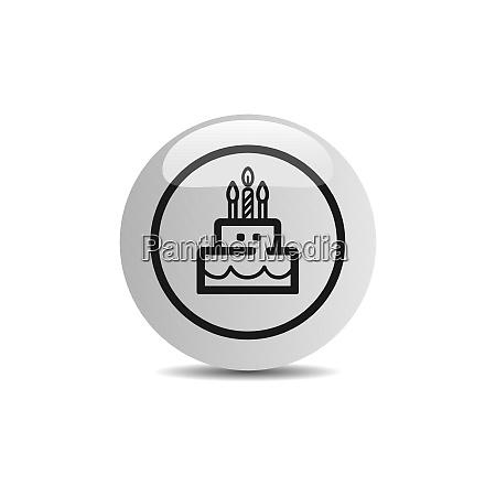 geburtstags symbol in einem button auf