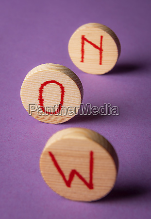 word now on wooden pieces seize