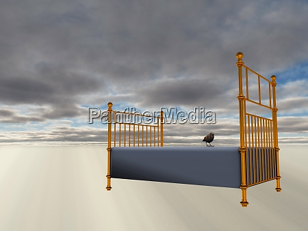 bed floats in tranquil scene surreal