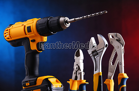 hardware tools including cordless drill