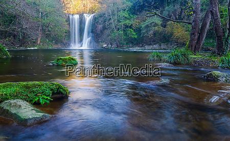 beautiful big waterfall in spain in