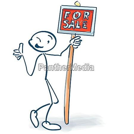 stick figure with a red sign