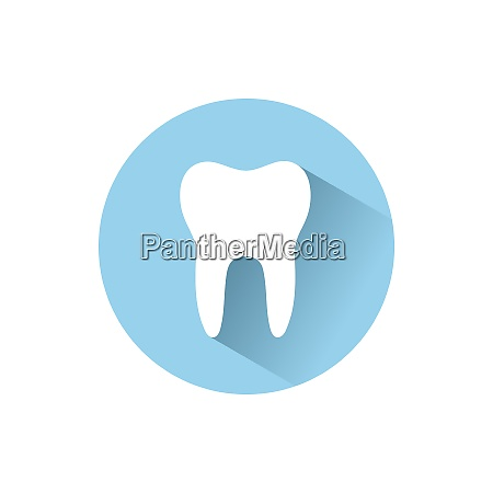 tooth flat icon with shadow on