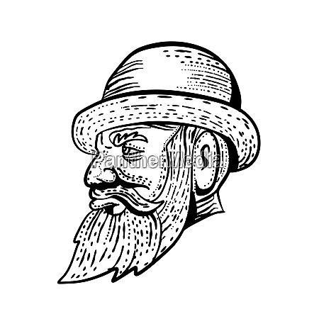 hipster wearing bowler hat etching black