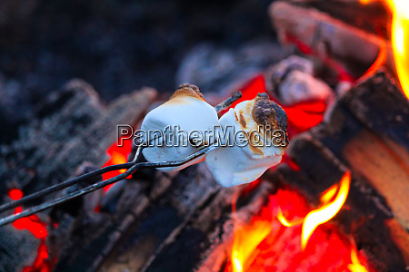 roasting marshmallows for smores over a