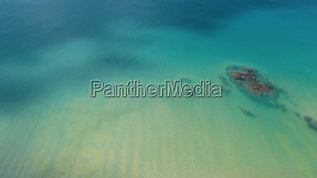 aerial view of transparent shallow water