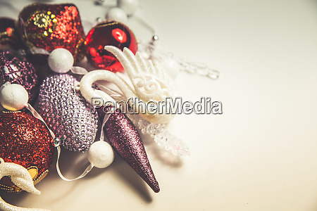 top view of christmas decor set