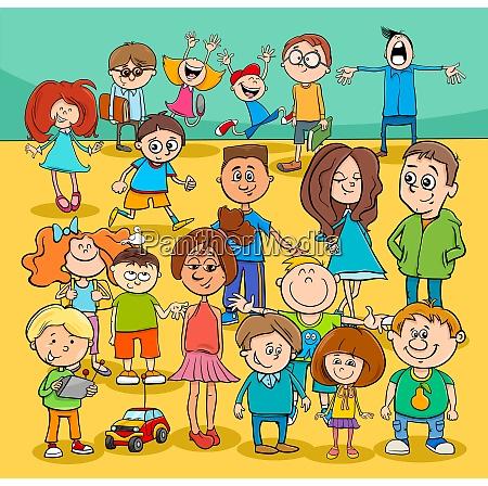 kids and teenagers cartoon characters group
