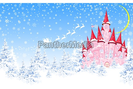 pink, castle, , forest, , winter, , santa - 26071797