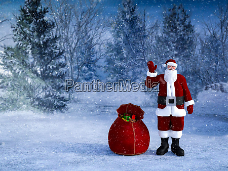 3d rendering of santa with his