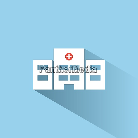 hospital color icon with shadow on