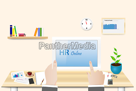 human relations online concept in office