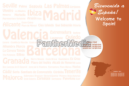 travel spain template vector with names