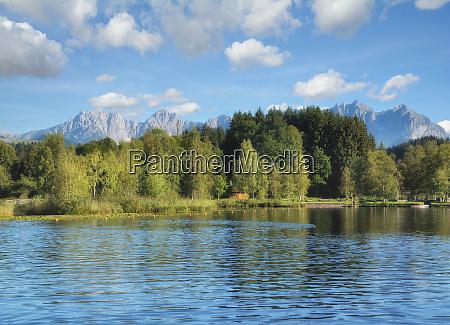 at lake schwarzsee in kitzbuehel tirol