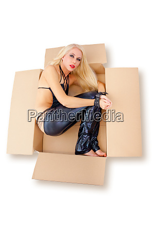 blonde woman in studio