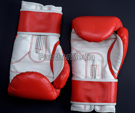 pair of red white leather boxing