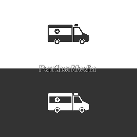 isolated ambulance icon on black and