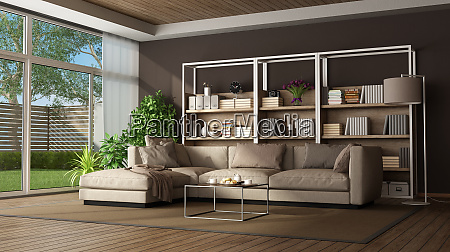 brown living room with sofa and