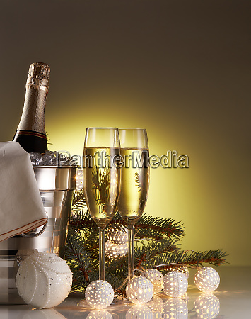 champagne and christmas and new year