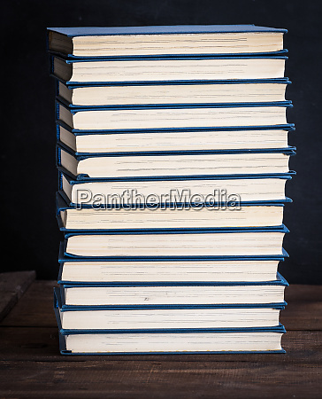 stack of books in a blue