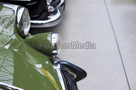 close up of headlights of luxurious