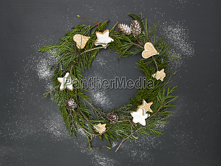 christmas wreath on black background with