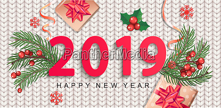 2019 new year greeting card on
