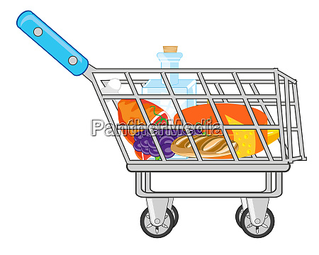 shop pushcart with product on white