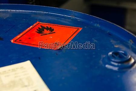 dangerous flammable symbol barrel top industrial