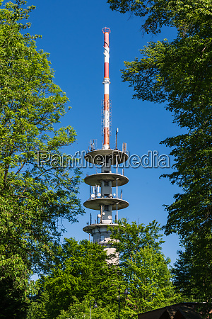 tv tower on blue sky green