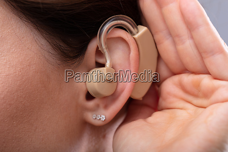 close up of a womans ear