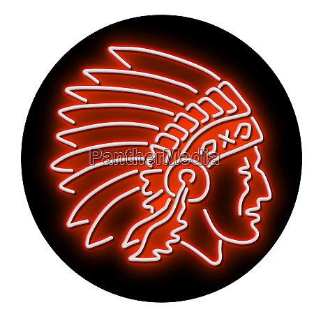 native american indian chief glowing neon