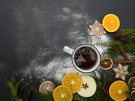 christmas background with tea or punch