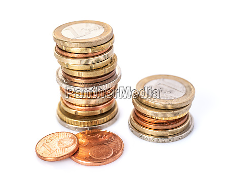 two euro coin stacks on a