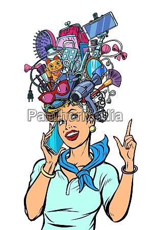 stewardess woman dreams about gadgets