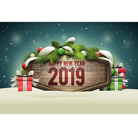 wooden happy new year signboard