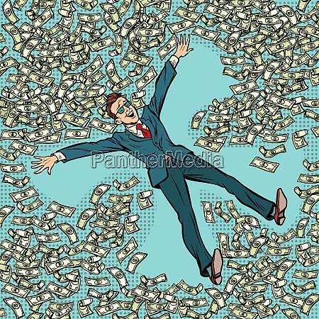businessman making snow angel money dollars