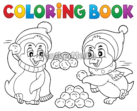 coloring book penguins playing with snow