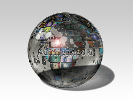 planet earth globe with artworks