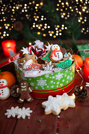 festive cookie jar with cookies